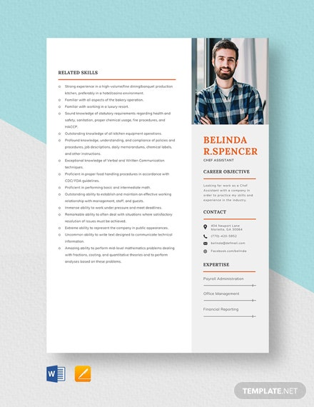 Chef Assistant Resume Template