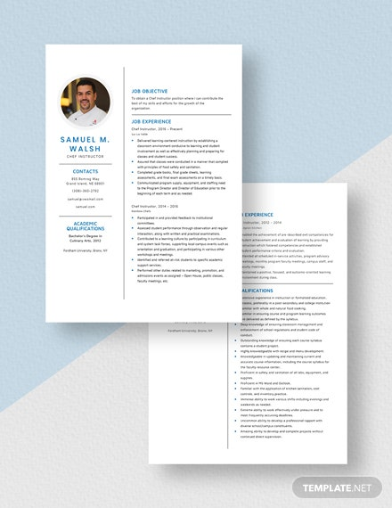 Chef Instructor Resume Download