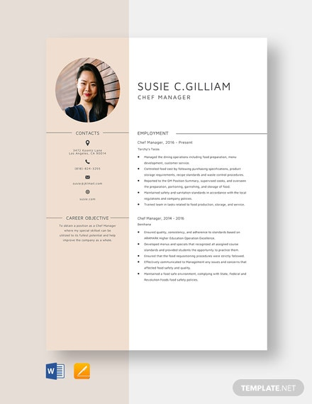 Chef Manager Resume Template