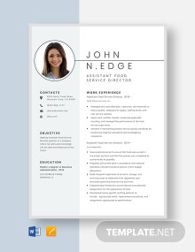 Assistant Food Service Director Resume Template