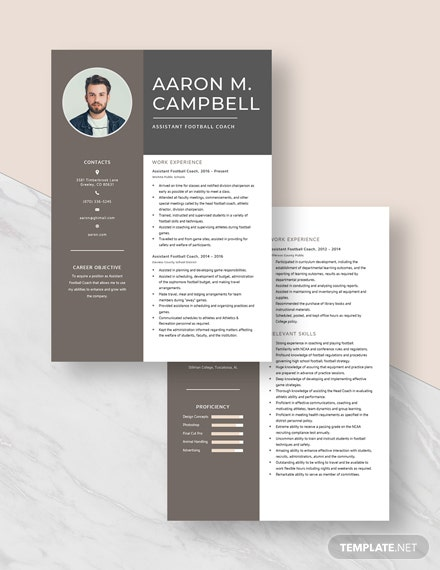 Assistant Football Coach Resume Download