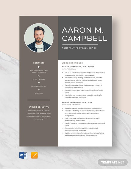 Assistant Football Coach Resume Template