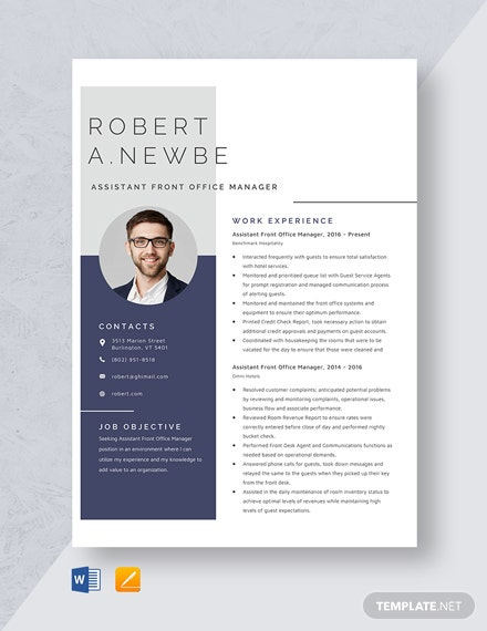 Assistant Front Office Manager Resume Template