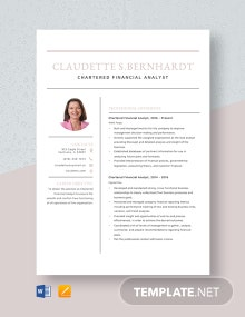 Chartered Financial Analyst Resume Template