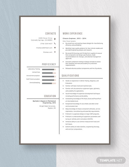Chassis Engineer Resume Template