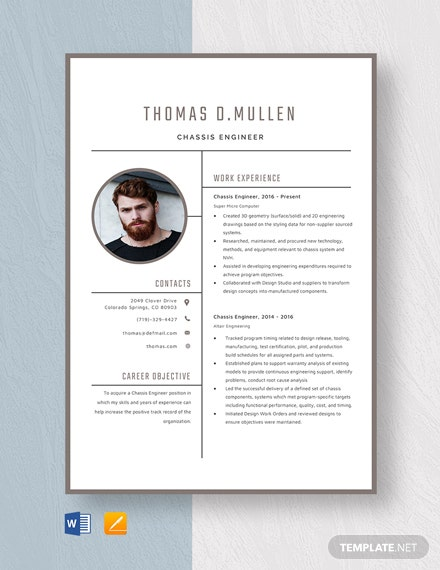 Chassis Engineer Resume