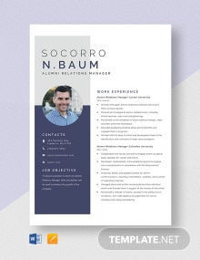 Alumni Relations Manager Resume Template