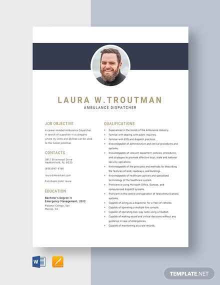Ambulance Dispatcher Resume Template