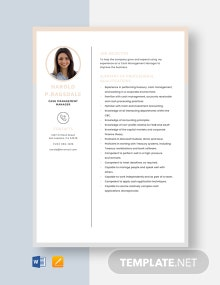 Cash Management Manager Resume Template