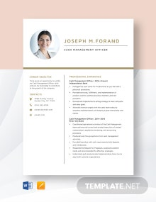 Cash Management Officer Resume Template