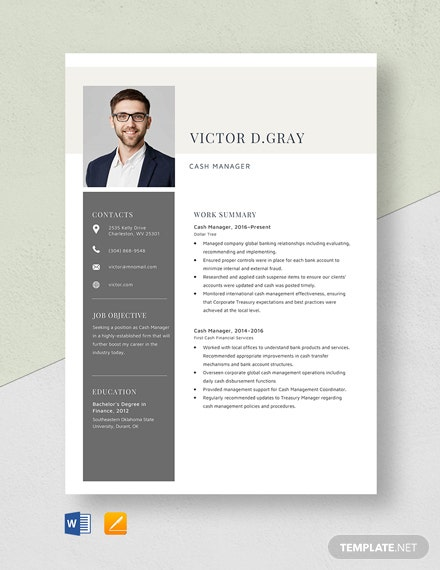 Cash Manager Resume Template