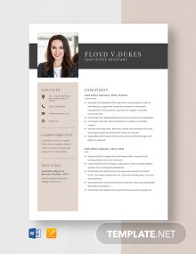 Cash Office Assistant Resume Template