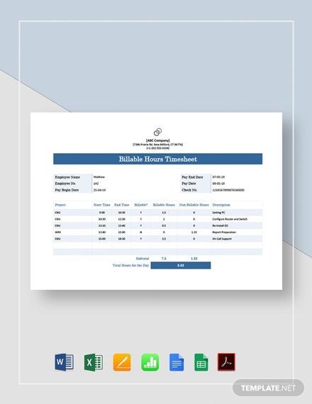 Billable Hours Timesheet Template