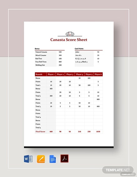 Canasta Score Sheet Template
