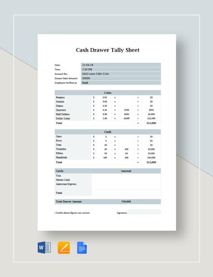 Cash Drawer Tally Sheet Template
