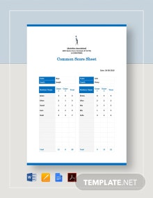 Common Score Sheet Template