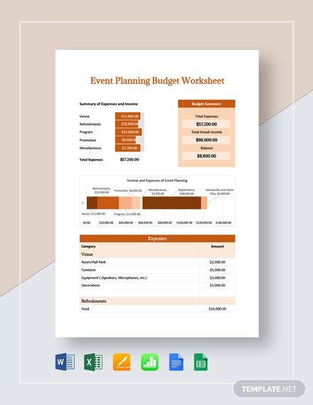 event planning budget worksheet