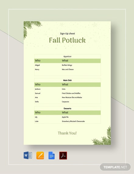 Fall Potluck Signup Sheet Template