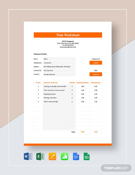 Time Worksheet Template