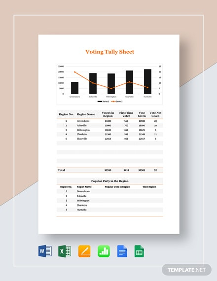 Voting Tally Sheet Template