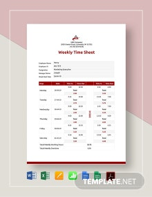 Weekly Timesheet Template For Numbers