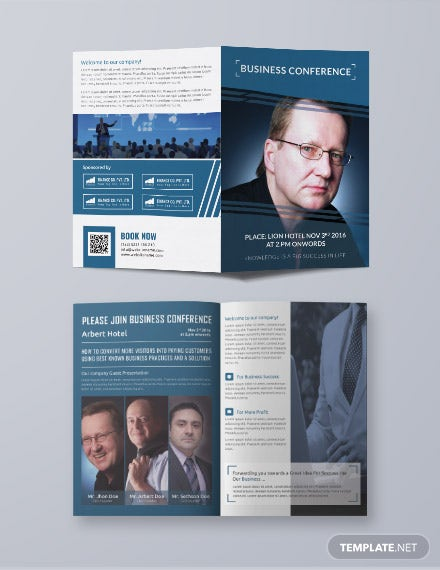 Free Business Conference A3 Bifold Brochure Template