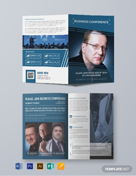 Business Conference A3 Bifold Brochure Template