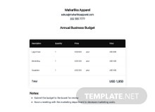 Annual Business Budget Template