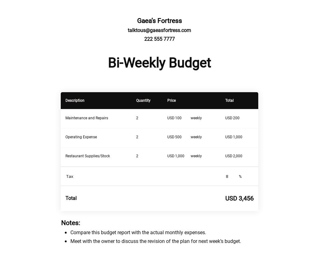 Bi-Weekly Budget Template