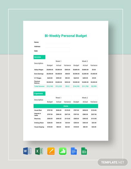 Bi-Weekly Personal Budget Template