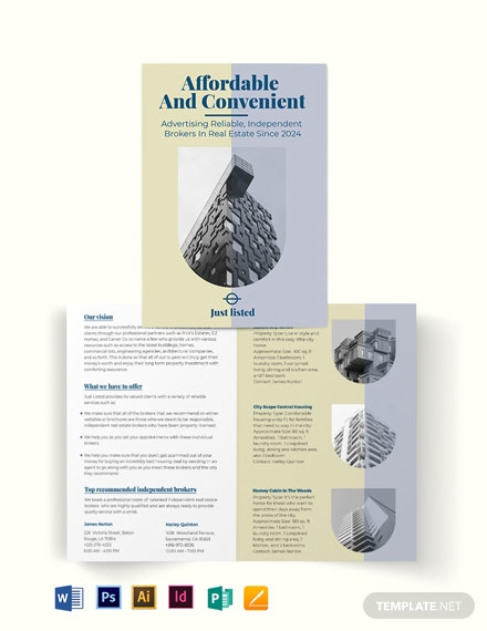 Independent Real Estate Broker Bi-Fold Brochure Template