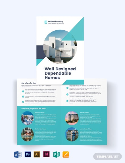 Personal Real Estate Agent Agency Bi-Fold Brochure Template [Free Publisher] - Illustrator, InDesign, Word, Apple Pages, PSD
