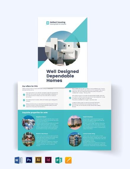 Personal Real Estate Agent Agency Bi-Fold Brochure Template