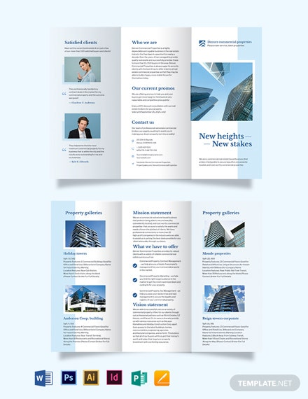 Commercial Real Estate Tri-Fold Brochure Template