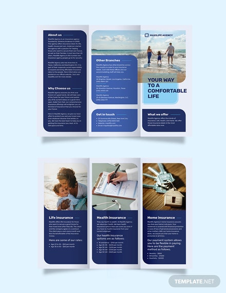 Insurance Agency Tri-Fold Brochure Template