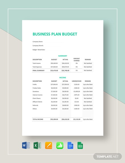 simple business plan budget