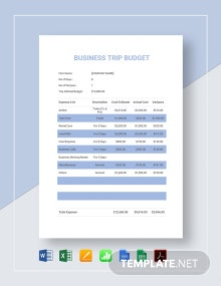 Business Trip Budget Template