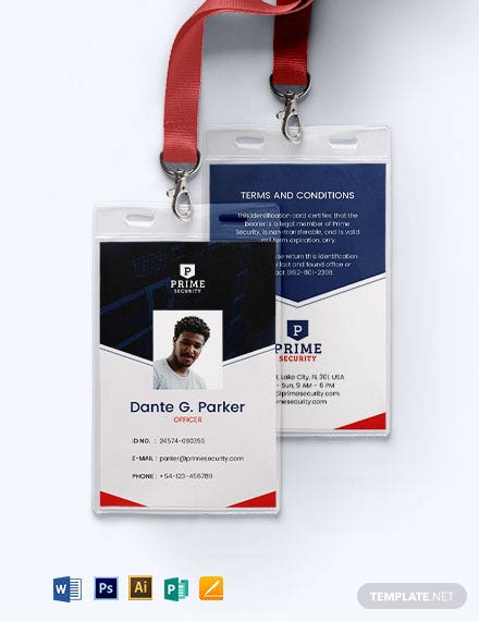 Security ID Card Format Template
