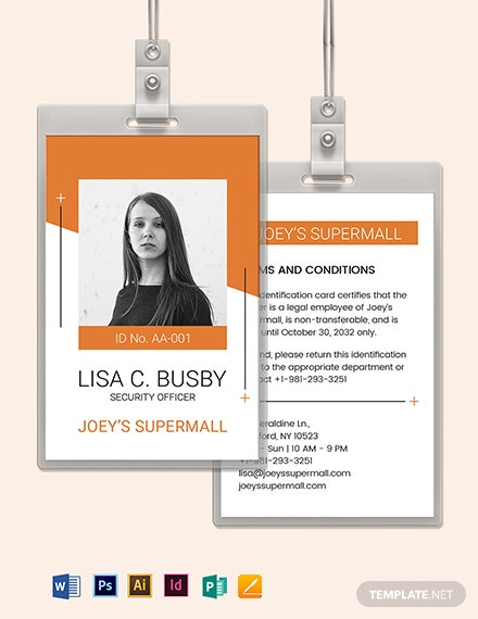 Security Officer ID Card Template