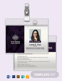 Senior Care ID Card Template