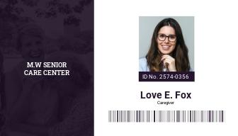 Senior Care ID Card Template
