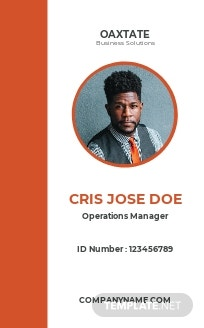 Simple Department ID Card Template