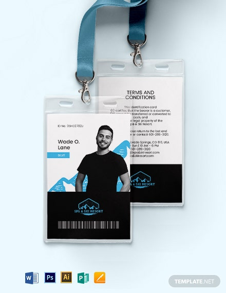 Ski Resort ID Card Template