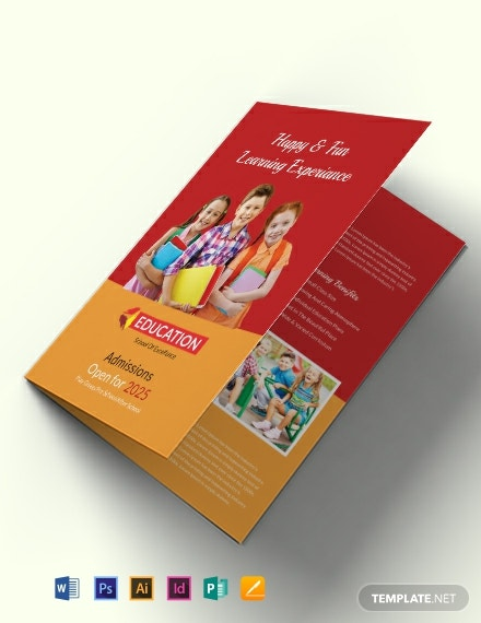 Kindergarten Bi-Fold Brochure Design Template