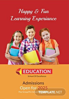 Free Kindergarten Bi-Fold Brochure Design Template