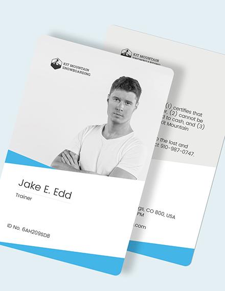 Sample SnowBoard ID Card