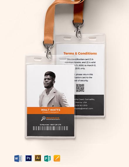 Special Investigator ID Card Template