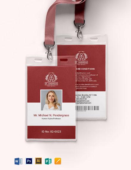 Teacher ID Card Template