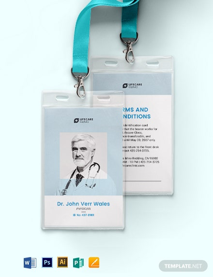 Vertical Medical ID Card Template
