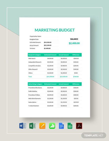 Simple Marketing Budget Template